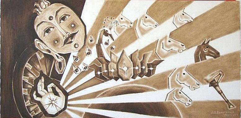 Oil Paintings Painting - Sun God Series by Ram Prakash