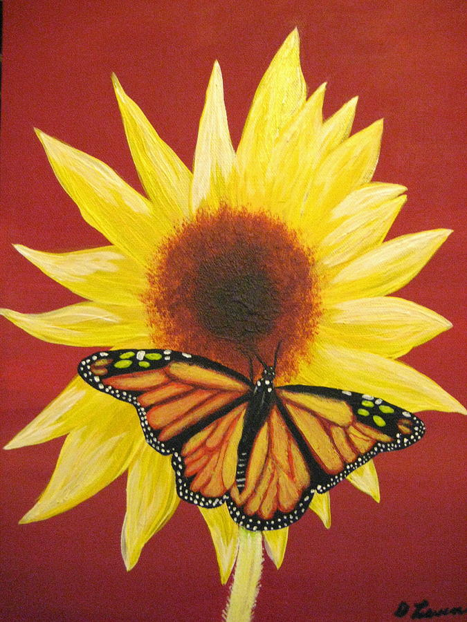 Sunflower Painting - Sunflower Monarch by Debbie Levene
