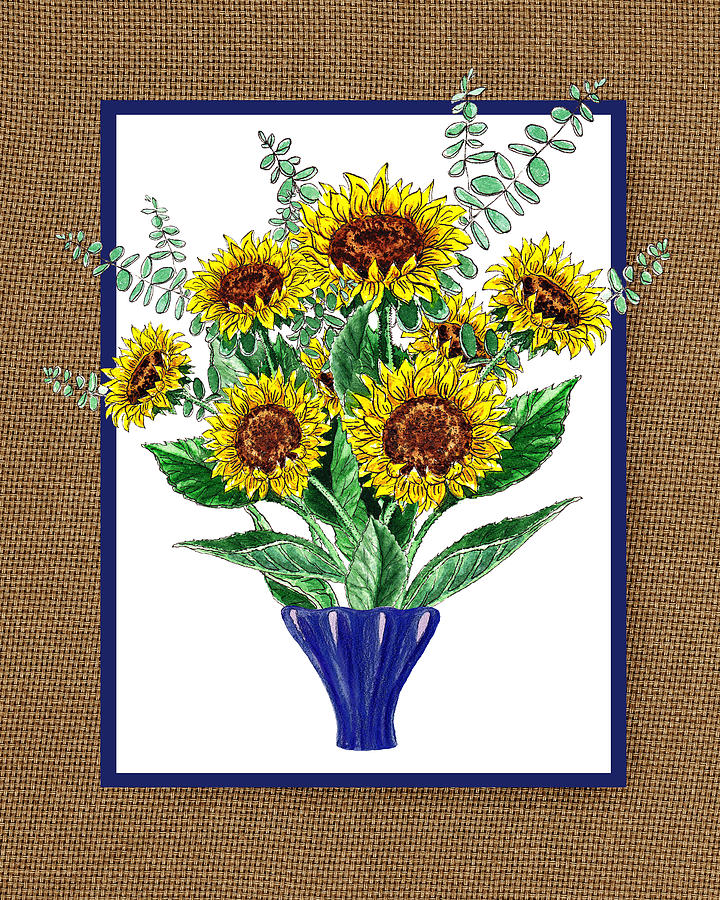 Sunflower Painting - Sunflowers Bouquet by Irina Sztukowski