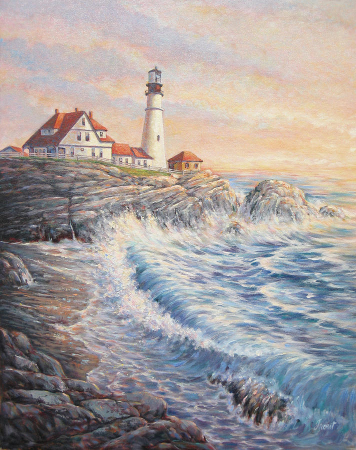 Lighthouse Painting - Sunrise Light by Don Trout