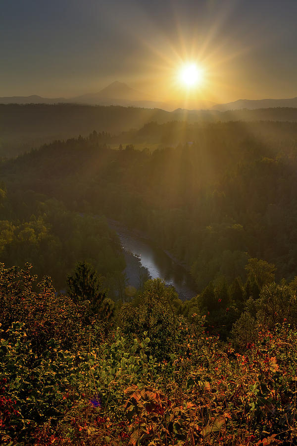 Mount Hood Photograph - Sunrise over Mount Hood and Sandy River by David Gn