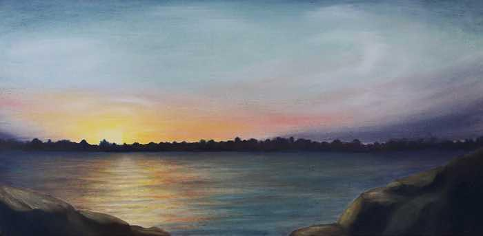 Sunrise Over the Grand Painting by Ruth Ann Sturgill