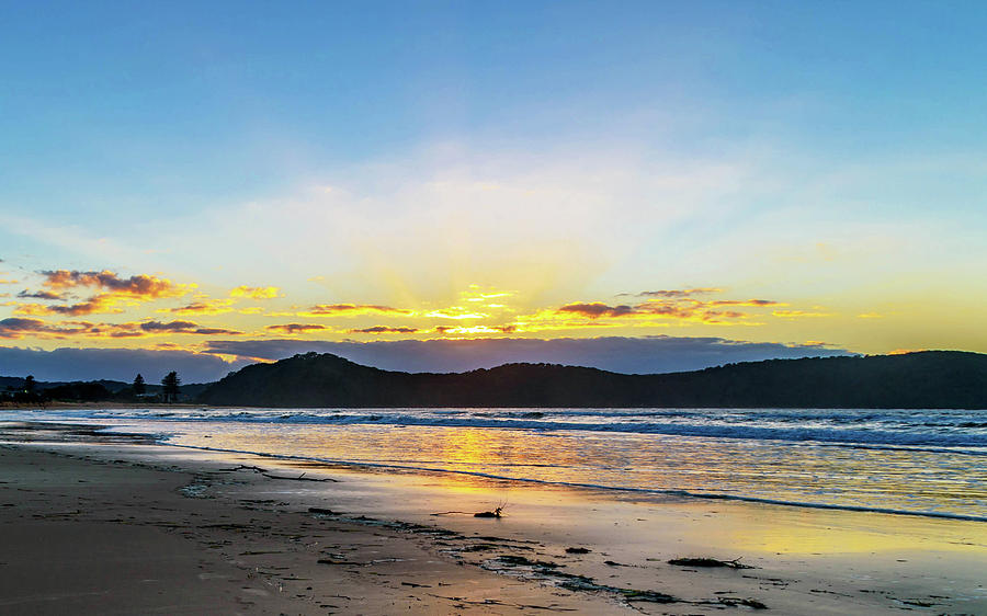 Umina Photograph - Sunrise Seascape And Crepuscular Rays by Merrillie Redden