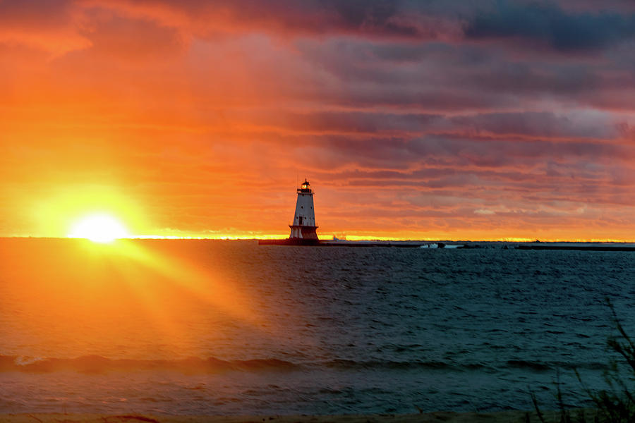 Lighthouse Photograph - Sunset and Lighthouse by Lester Plank