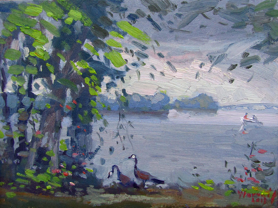 Sunset Painting - Sunset At Goat Island by Ylli Haruni