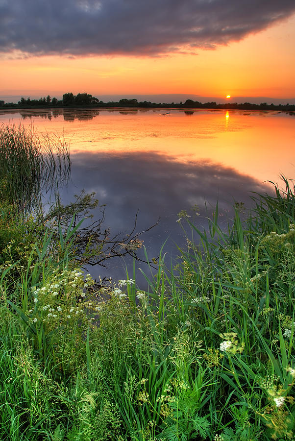 Beautiful Photograph - Sunset By The Lake by Jaroslaw Grudzinski