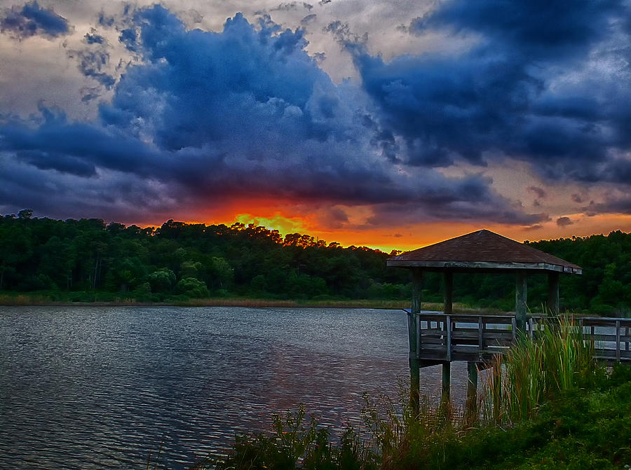 Sunset Photograph - Sunset Huntington Beach State Park by Bill Barber