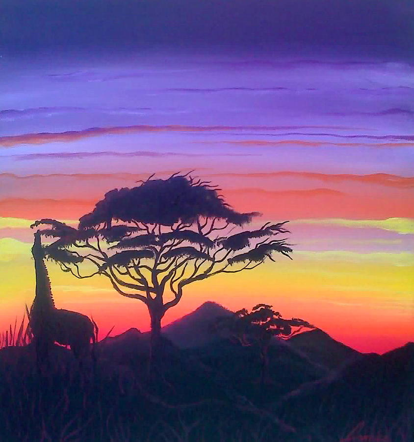 Colors Of Africa! Painting - Sunset Of The Masai by Portland Art Creations