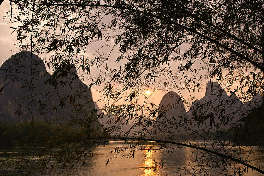Asia Photograph - Sunset On The Li River by Michele Burgess