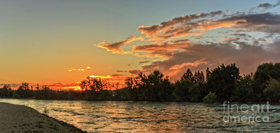 Sunrise Photograph - Sunset Over The Payette River by Robert Bales