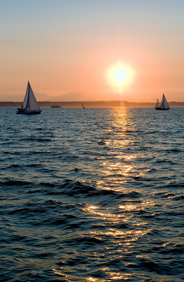 Seattle Photograph - Sunset Sailing by Tom Dowd