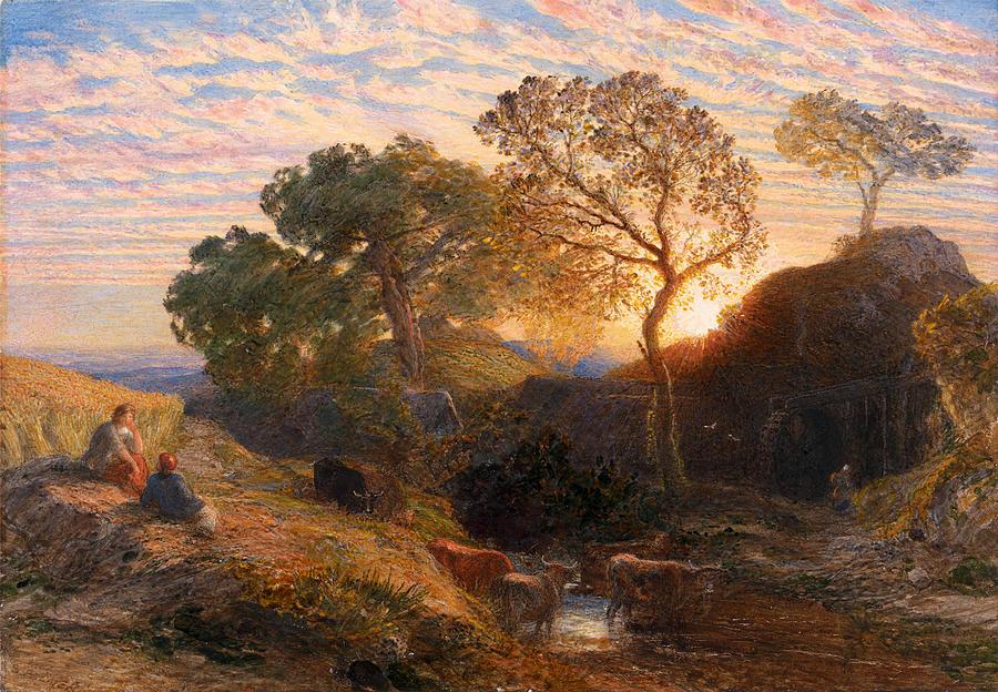 Samuel Palmer Drawing - Sunset by Samuel Palmer