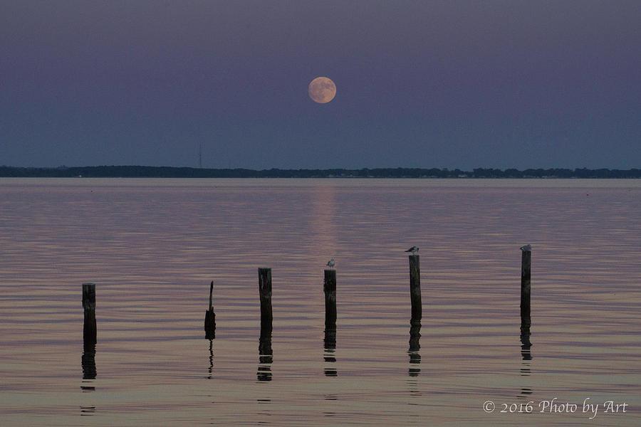 Super Moon Colonial Beach VA by Arthur English