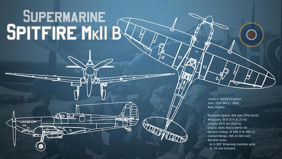 Supermarine spitfire mk ii blueprint digital art by jose elias supermarine digital art supermarine spitfire mk ii blueprint by jose elias sofia pereira malvernweather Gallery