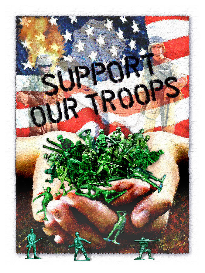 Troops Mixed Media - Support Our Troops by Ernestine Grindal