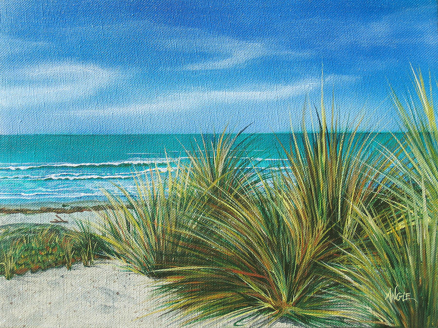 Sea Grass Painting - Surf Beach by Angie Hamlin