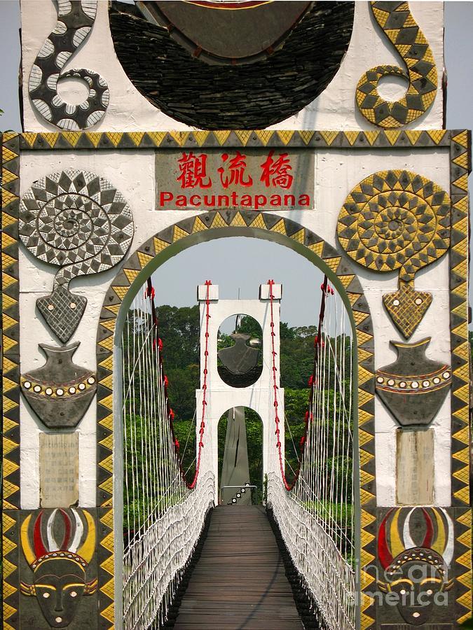 Suspension Bridge Photograph - Suspension Bridge With Tribal Decorations by Yali Shi