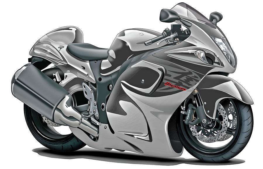 Suzuki Hayabusa Grey Bike Digital Art By Maddmax