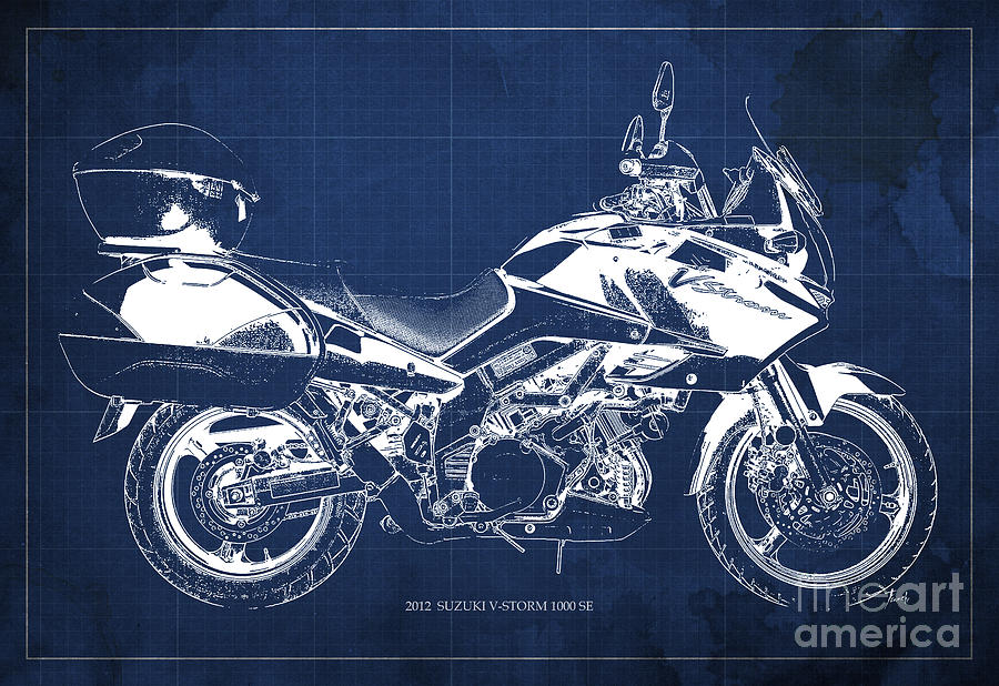 Suzuki V Strom 1000 Se 2012 Original Blueprint Motorcycle Wall Art