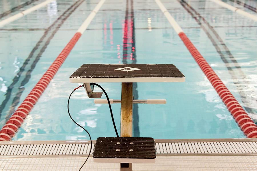 Swimming Starting Block At Indoor Pool