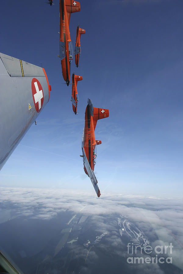Transportation Photograph - Swiss Air Force Display Team, Pc-7 by Daniel Karlsson