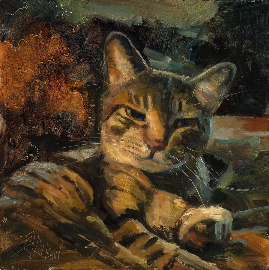 Cats Painting - Tabby Nap by Billie Colson