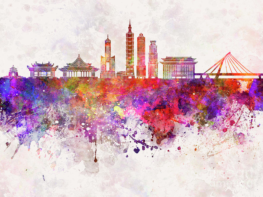 Taipei skyline in watercolor background Painting by Pablo Romero