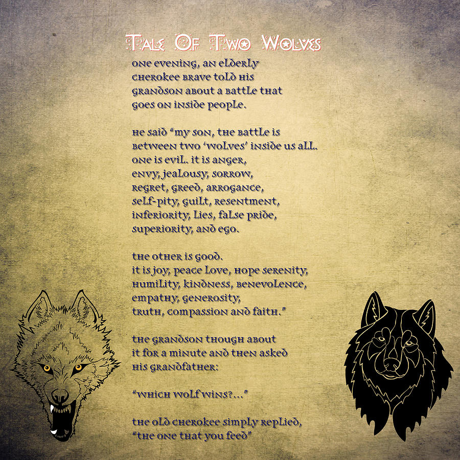 Tale Of Two Wolves - Art Of Stories Painting by Celestial Images