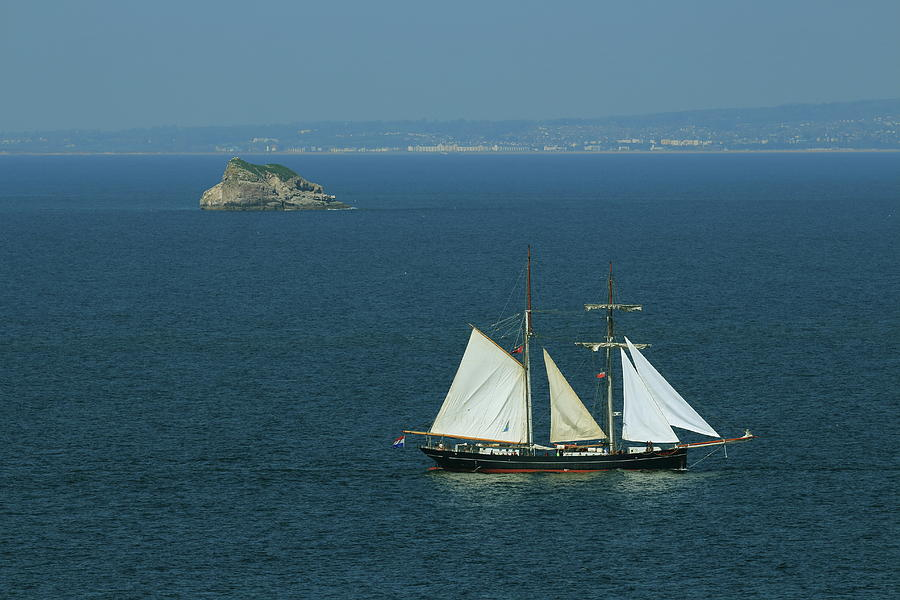 Devon Photograph - Tall Ship Passing Thatchers Rock, Torbay by Tom Wade-West