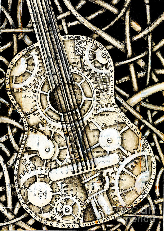 Guitar Drawing - Tangle Guitar by Delein Padilla