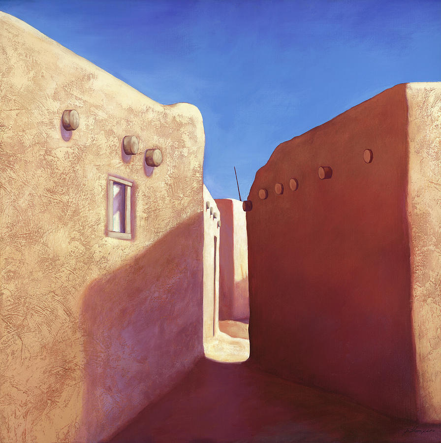 Pueblo Painting - Taos Walls by Jo Thompson