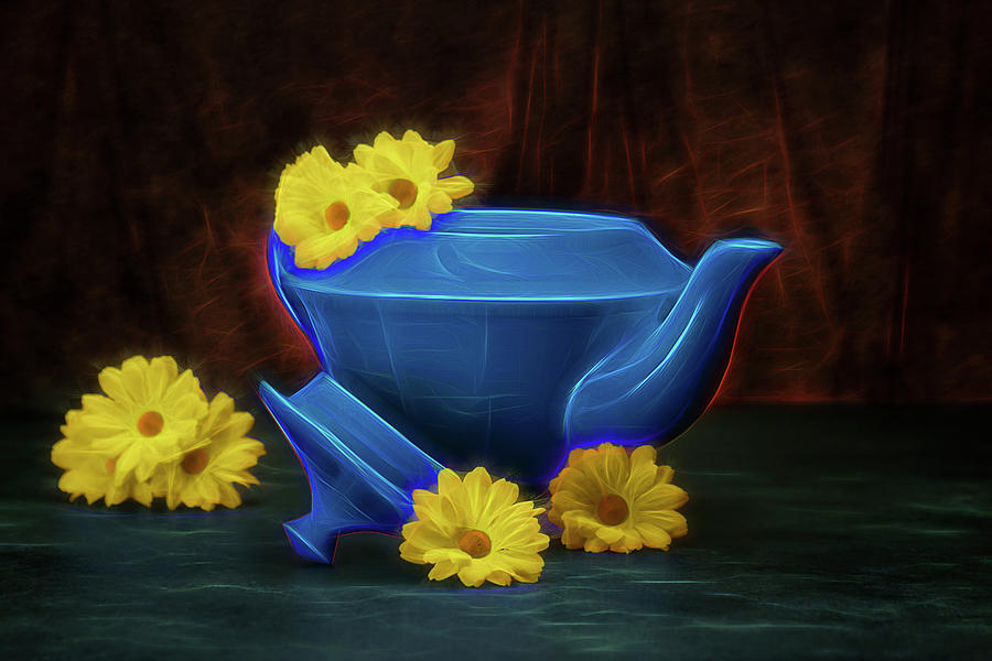 Azure Photograph - Tea Kettle With Daisies Still Life by Tom Mc Nemar
