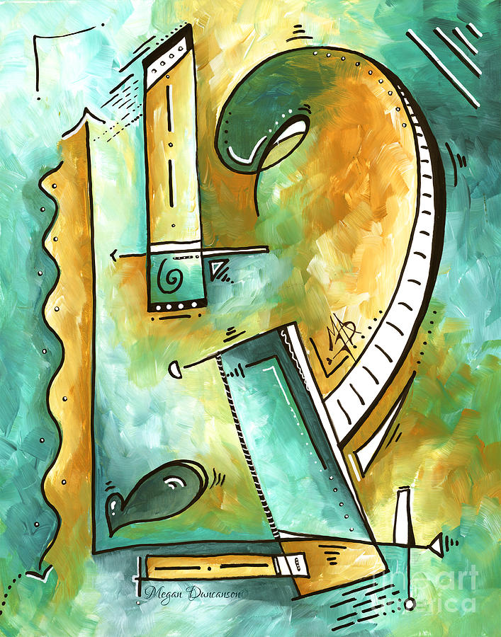 Abstract Painting - Teal Dreams Fun Funky Original PoP Art Style Abstract Painting by Megan Duncanson by Megan Duncanson