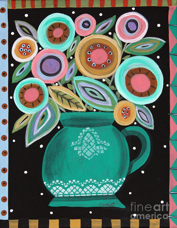 Flowers Painting - Teal Pot by Karla Gerard