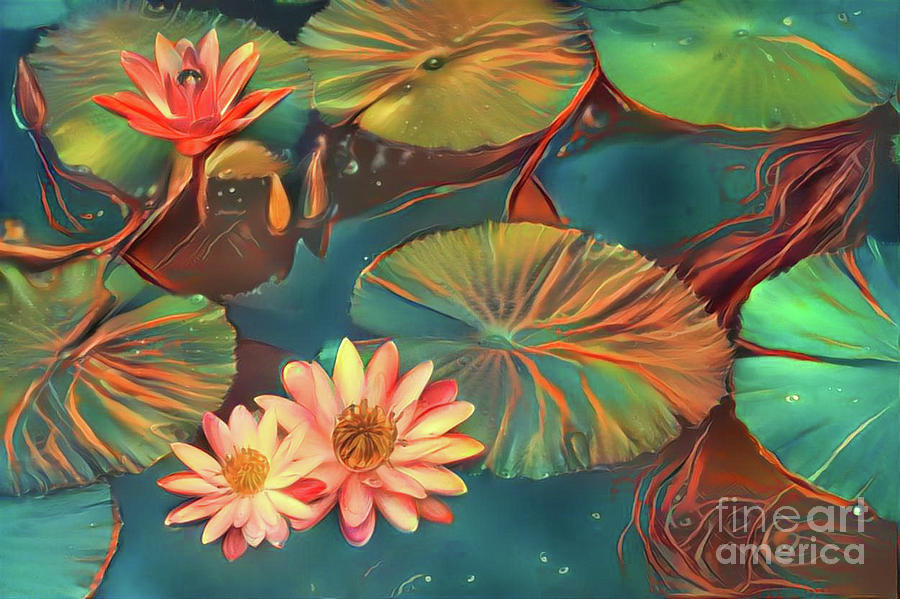 Aquatic Plant Digital Art - Teal Waterlilies 8 by Amy Cicconi