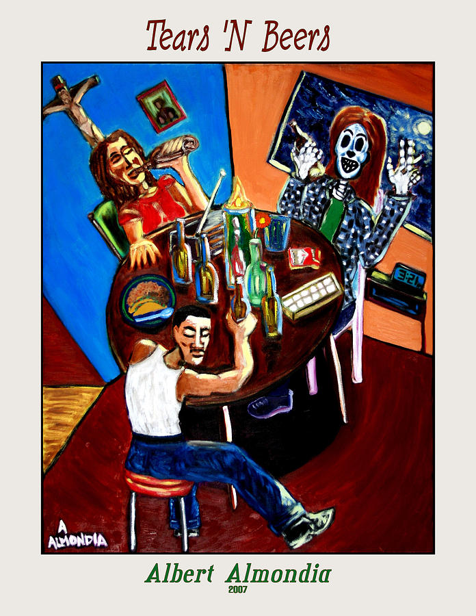 Day Of The Dead Painting - Tears n Beers by Albert Almondia
