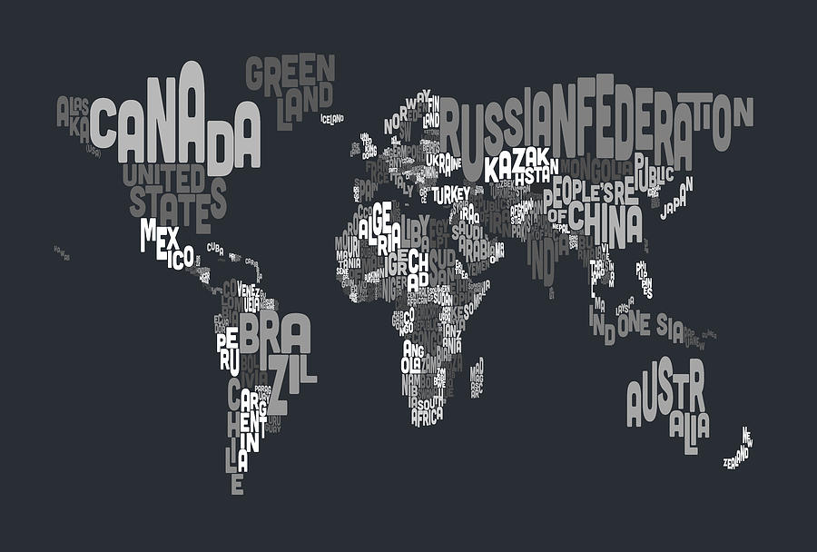 Text map of the world digital art by michael tompsett map of the world digital art text map of the world by michael tompsett gumiabroncs Image collections