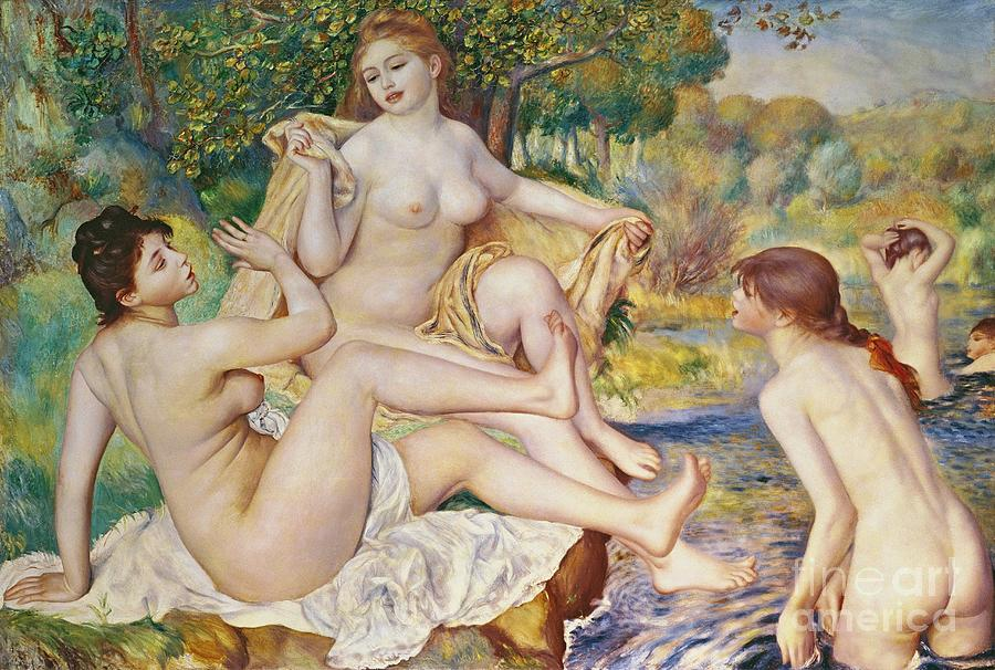 The Painting - The Bathers by Pierre Auguste Renoir