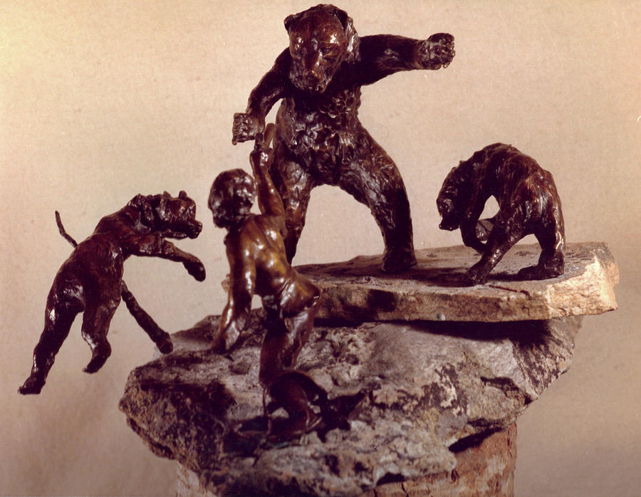 Frontier Sculpture - The Bear Trap  by Willoughby Senior