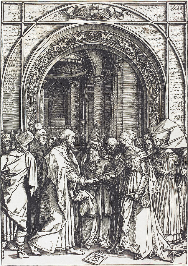 Durer Drawing - The Betrothal Of The Virgin by Albrecht Durer