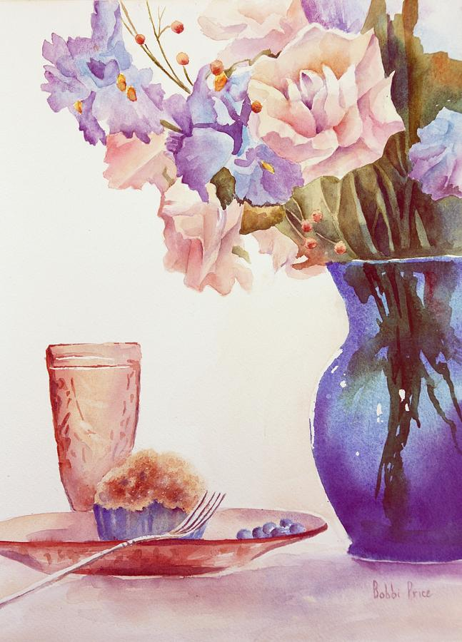 Watercolor Painting - The Blue Vase by Bobbi Price
