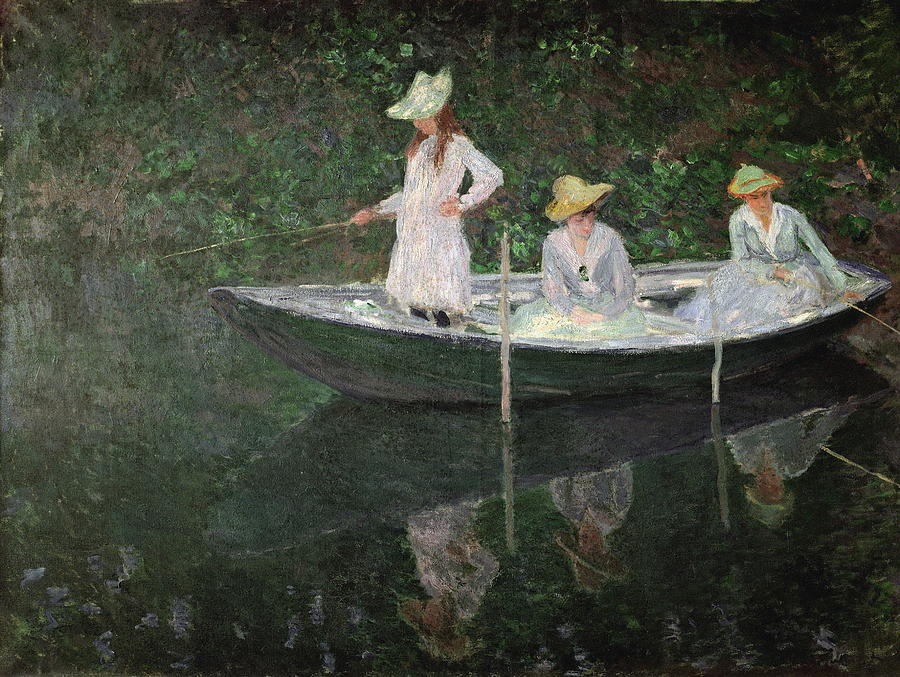 The Boat At Giverny Painting by Claude Monet