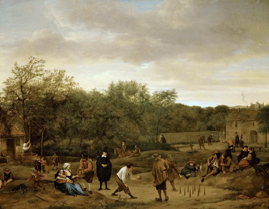 The Bowling Game Painting By Jan Steen