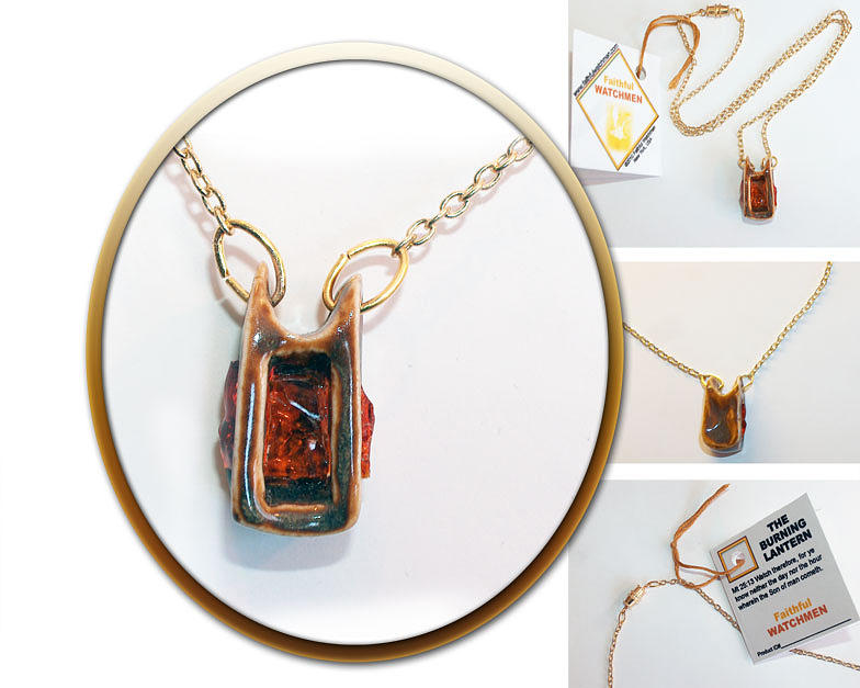 Necklace Mixed Media - The Burning Lantern by Wendy Nelson