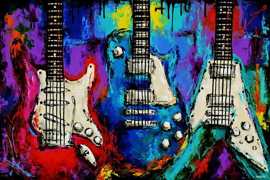 Guitar Painting - The colors of music. by Magda Magier