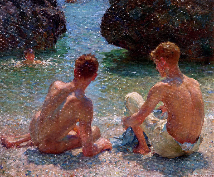 Nude Painting - The Critics by Henry Scott Tuke