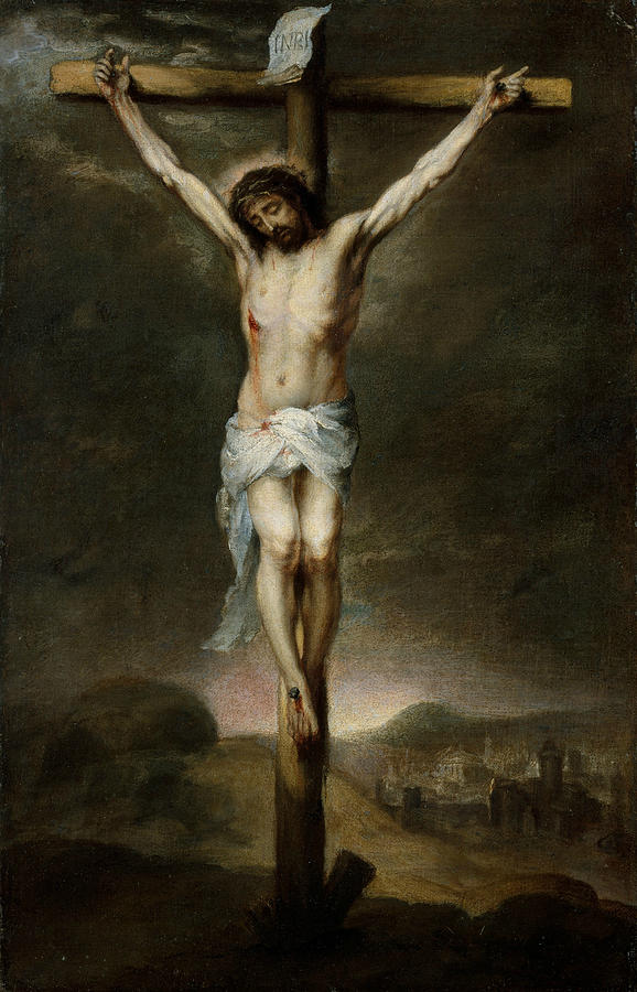 Baroque Painters Painting - The Crucifixion by Bartolome Esteban Murillo