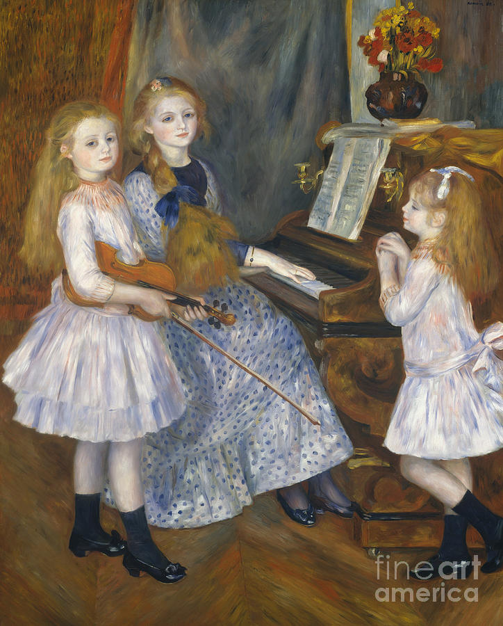 Renoir Painting - The Daughters Of Catulle Mendes At The Piano, 1888 by Pierre Auguste Renoir