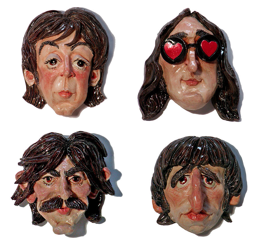 The Beatles Mixed Media - The Fab Four by Karen Fulk