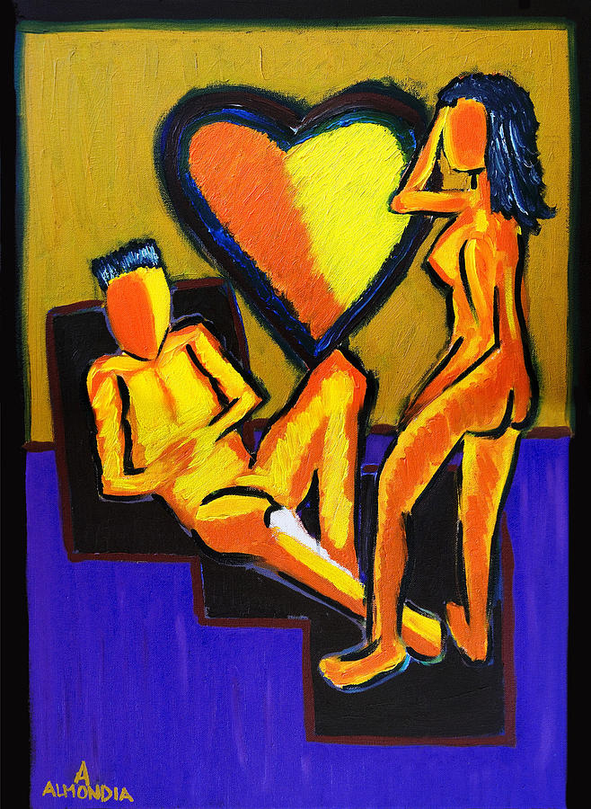 Relationships Painting - The Fire Between Us by Albert Almondia